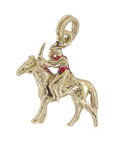 Movable Cowboy on a Horse Charm in 12 Karat Gold - Item: C346 - Image: 1