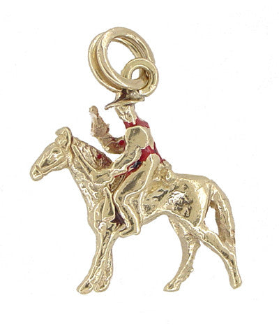 Movable Cowboy on a Horse Charm in 12 Karat Gold