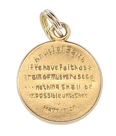 1960's Estate Matthew 17:20 Mustard Seed Charm in 14K Gold - Item: C354 - Image: 1