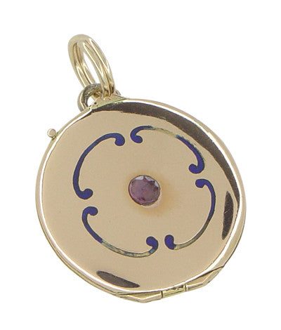 Victorian Enameled Locket Pendant in 14 Karat Gold