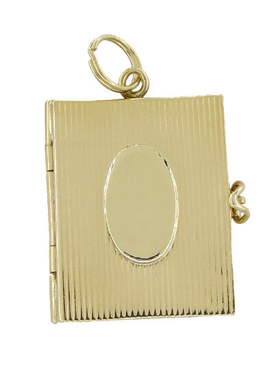 Vintage Movable Opening Book Locket Charm in 14 Karat Yellow Gold - Item: C366 - Image: 1