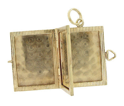 Vintage Movable Opening Book Locket Charm in 14 Karat Yellow Gold