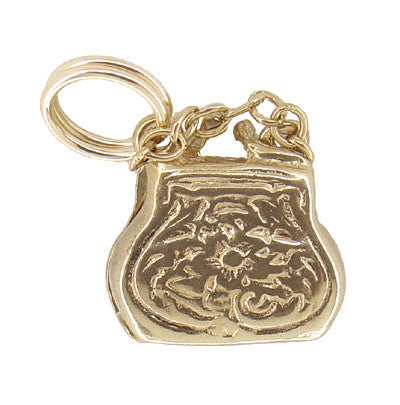 Movable Opening Purse Charm in 14 Karat Gold - Item: C368 - Image: 1