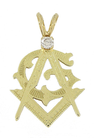 Diamond Set Masonic Pendant in 14 Karat Gold