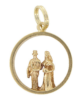 Bridegroom and Bride Wedding Charm in 14 Karat Gold