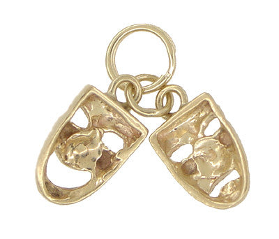 Comedy and Tragedy Masks Charm in 14 Karat Gold - Item: C375 - Image: 1