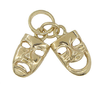 Comedy and Tragedy Masks Charm in 14 Karat Gold