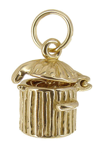 Kitty in a Trash Can Movable Charm in 14 Karat Gold - Item: C382 - Image: 2