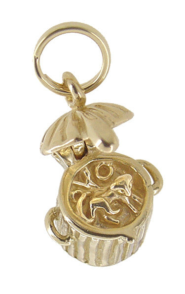 Kitty in a Trash Can Movable Charm in 14 Karat Gold