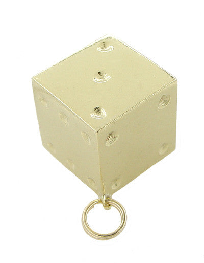 Vintage Lucky Dice Charm in 14 Karat Yellow Gold