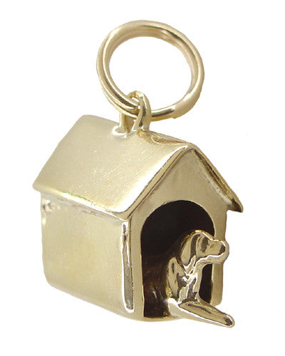 Dog in a Doghouse Charm in 10 Karat Gold
