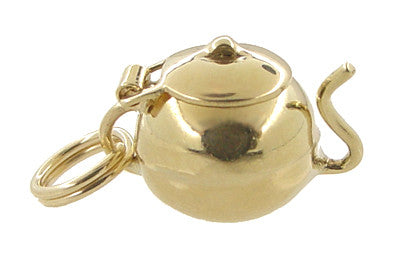 Tea Pot Movable Charm in 10 Karat Gold - Item: C392 - Image: 1