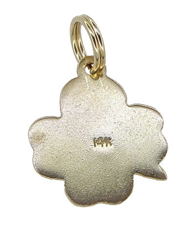 Vintage Enameled Lucky 4 Leaf Clover Charm in 14 Karat Gold - Item: C395 - Image: 1
