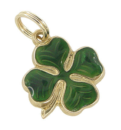 Vintage Enameled Lucky 4 Leaf Clover Charm in 14 Karat Gold