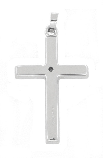 Diamond Set Cross Pendant in 14 Karat White Gold - Item: C400 - Image: 1