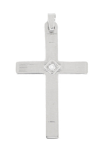 Diamond Set Cross Pendant in 14 Karat White Gold
