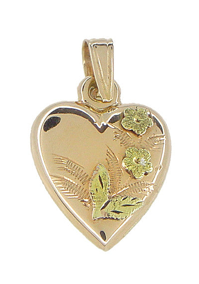 Puffed Heart Charm in 14 Karat Rose and Yellow Gold
