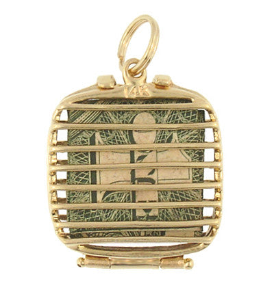 Mad Money Case Movable Charm in 14 Karat Yellow Gold - Item: C405 - Image: 1