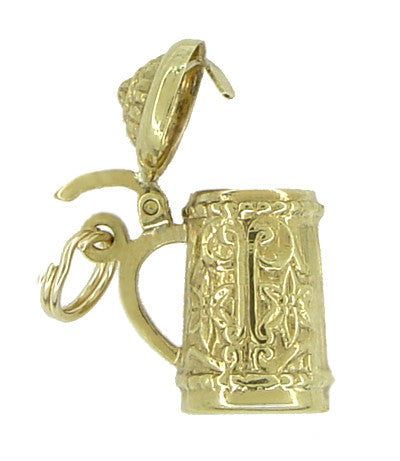 Vintage Movable Beer Stein Charm in 18 Karat Yellow Gold