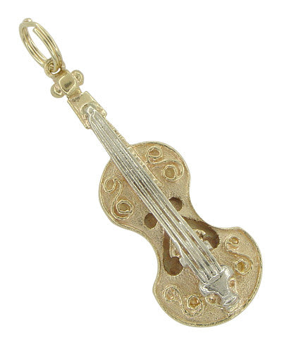 Violin Pendant in 14 Karat White and Yellow Gold