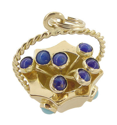 Basket of Flowers Charm in 18 Karat Gold - Item: C416 - Image: 2