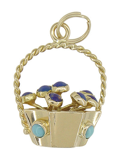Basket of Flowers Charm in 18 Karat Gold - Item: C416 - Image: 1