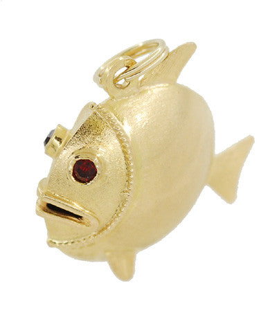 Puffed Fish Charm with Gemstone  Eyes in 18K Yellow Gold - Item: C417 - Image: 1