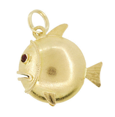 Puffed Fish Charm with Gemstone  Eyes in 18K Yellow Gold