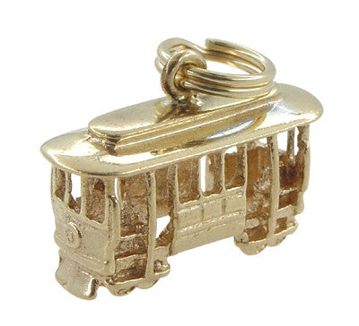 San Francisco Cable Car Charm - 14K Solid Yellow Gold