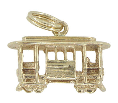 Cable Car Charm - 14K Yellow Gold Trolley Car Pendant - C426