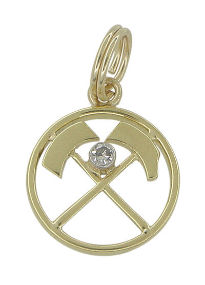 Diamond Set Prospectors Axes Charm in 14 Karat Gold