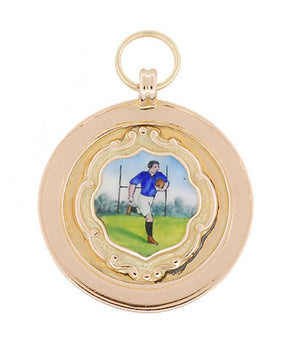 Vintage Enameled Rugby Football Pendant in English 9 Karat Gold - Circa 1924