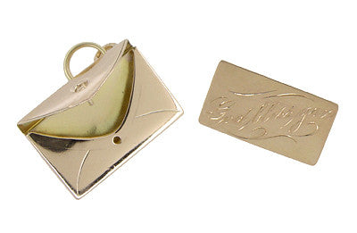 Movable Envelope and Love Letter Charm in 14 Karat Gold