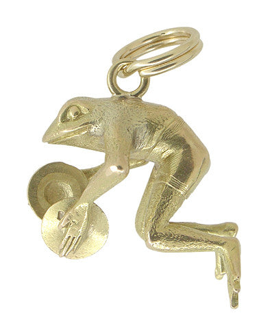Happy Frog with Cymbals Charm in 14 Karat Gold