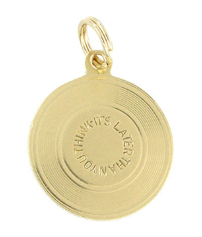 """It's Later Than You Think"" Disc Charm Pendant in 14 Karat Gold"