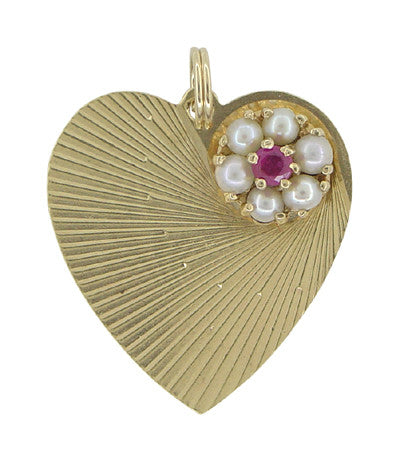 Vintage Heart Pendant Set With Ruby and Pearls in 14 Karat Gold