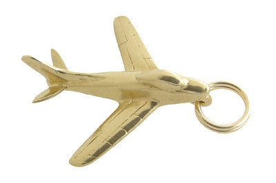 Vintage Fighter Jet Airplane Charm in 14 Karat Gold