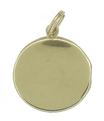 Engraved Antique Locket Pendant in 14 Karat Gold - Item: C470 - Image: 2