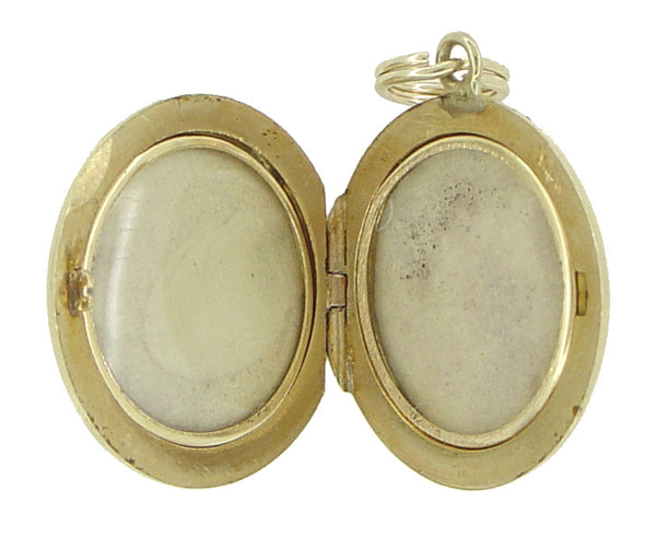 Engraved Antique Locket Pendant in 14 Karat Gold - Item: C470 - Image: 1