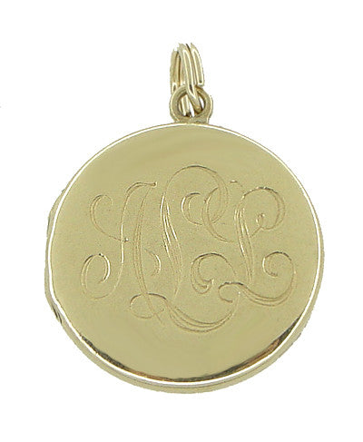 Engraved Antique Locket Pendant in 14 Karat Gold