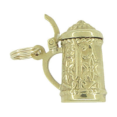 Vintage Movable Beer Stein Charm in 10 Karat Yellow Gold - Item: C471 - Image: 1