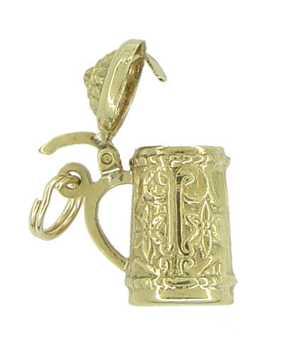 Vintage Movable Beer Stein Charm in 10 Karat Yellow Gold