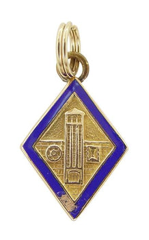 1940's Vintage Engineering School Charm in 10 Karat Yellow Gold with Blue Enamel