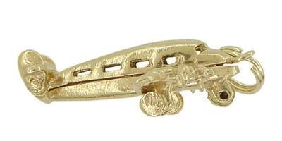 Opening Movable Passenger Airplane Pendant in 14 Karat Gold - Item: C509 - Image: 2