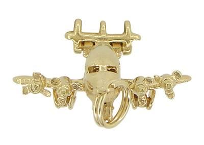 Opening Movable Passenger Airplane Pendant in 14 Karat Gold - Item: C509 - Image: 3