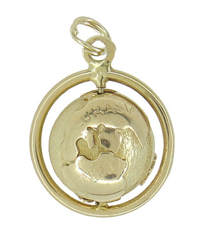 Spinning Globe Movable Charm in 14 Karat Gold - Item: C516 - Image: 1