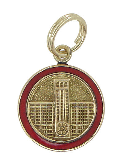 Red Enamel Framed Engineer Charm - 10K Gold Vintage Engineer Medallion Pendant