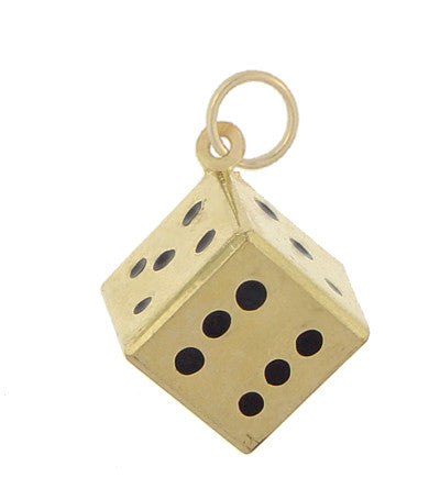 Vintage Dice Charm in 9K Yellow Gold - Item: C524 - Image: 1