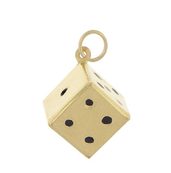 Vintage Dice Charm in 9K Yellow Gold