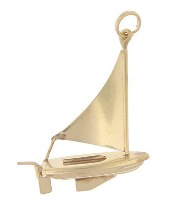 Moveable Sailboat Charm in 14 Karat Yellow Gold